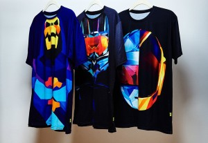 These super-bright, geometric T-shirts feature famous helmets
