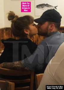 Ariana Grande & Mac Miller Confirm Romance With Sweet Kiss On Dinner Date — Pic