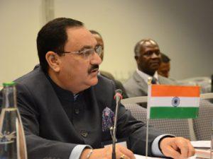 Ink thrown at Union Minister JP Nadda at AIIMS in Bhopal