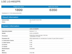 LG V30 visits Geekbench showing Snapdragon 835 SoC