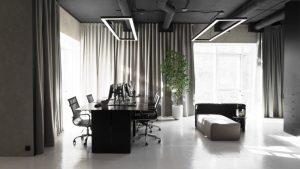 Yakusha Design applies dark tones throughout its Kiev offices